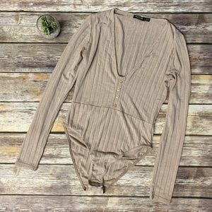 Nasty Gal Nude Ribbed Long Sleeve Body Suit